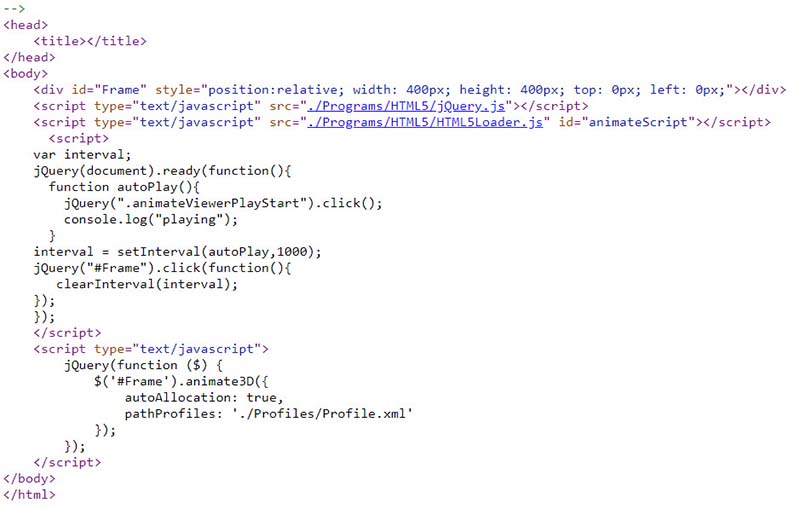 HTML code loading 360 viewer